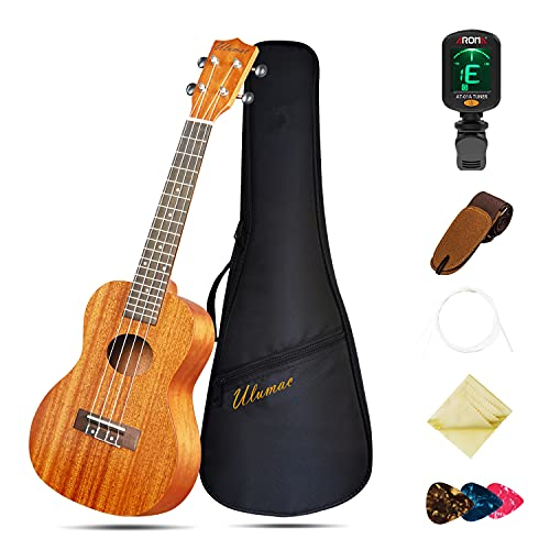 Ukulele Concert 23 inch Professional Mahogany Solid Top Ukelale for Beginners, Kids & Adults, All in One Bundle with Gig Bag, Digital Tuner, Replacing Strings, Picks, Yukelele Strap, Cloth