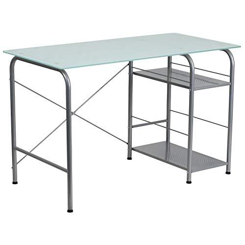 Flash Furniture Glass Computer Desk with Open Storage