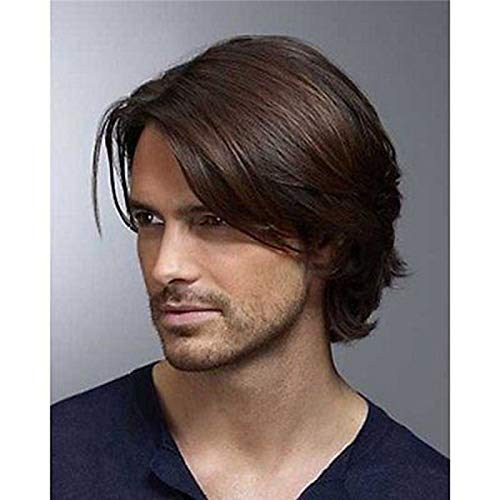Diy-Wig Men Short Brown Wig Curly Hair Replacement Synthetic Costume Halloween Cosplay Full Wigs