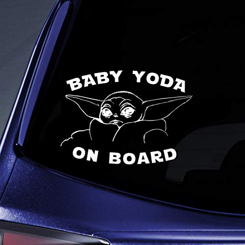 Bargain Max Decals Baby Bounty Hunter On Board Sticker Decal Notebook Car Laptop 5.5' (White)