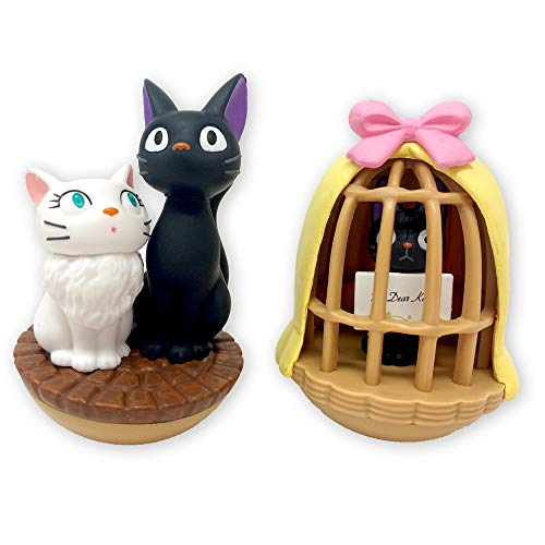 Ensky Kiki's Delivery Service Jiji & Lily Tilting Figure Set (YR-03) - Official Studio Ghibli Merchandise