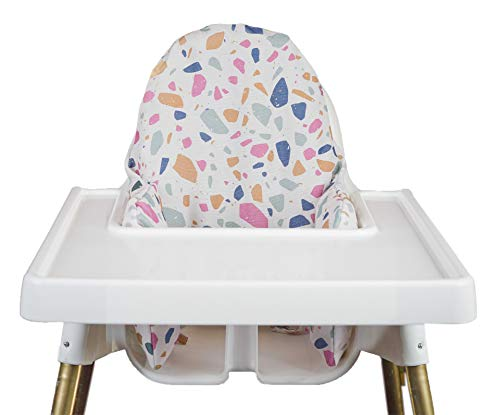 Cushion Cover for Antilop High Chair   Compatible with IKEA High Chair Accessories   Reversible   Removable Cover Compatible with IKEA Inflatable Cushion Insert   Little Bloom Co. (Terrazzo/Terrazzo)