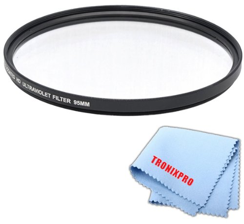 Tronixpro 95mm Pro Series High Resolution Digital Ultraviolet UV Protection Filter for Sigma 150-600mm 50-500mm, Tamron SP 150-600mm f/5-6.3 Di VC USD Lens + Microfiber Cloth