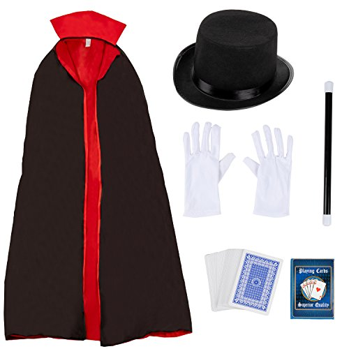 Magician Costume for Halloween, Includes Hat, Gloves, Wand, Cape, and Playing Cards (Adult Size, 5 Pieces)
