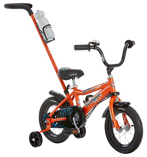 Schwinn Grit Steerable Kids Bike, Boys Beginner Bicycle, 12-Inch Wheels, Training Wheels, Easily Removed Parent Push Handle with Water Bottle Holder, Orange/Black