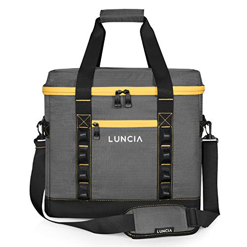 LUNCIA Collapsible Large Cooler Bag, 60-Can Sand-Free Insulated Leakproof Soft Sided Portable Cooler Bag Waterproof for Road Trip, Grocery Shopping, Camping and Picnic