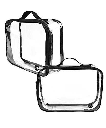 JAVOedge (2 PACK) Large Bag Clear PVC Cosmetic Makeup Organizer, Travel Toiletry Bag