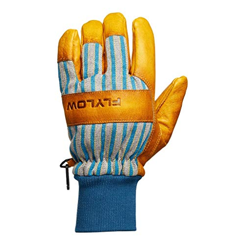 Flylow Tough Guy Leather Ski and Snowboarding Gloves (Natural/Blue, XL)