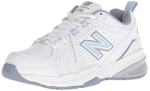 New Balance Women's 608 V5 Casual Comfort Cross Trainer, White/Light Blue, 8 W US