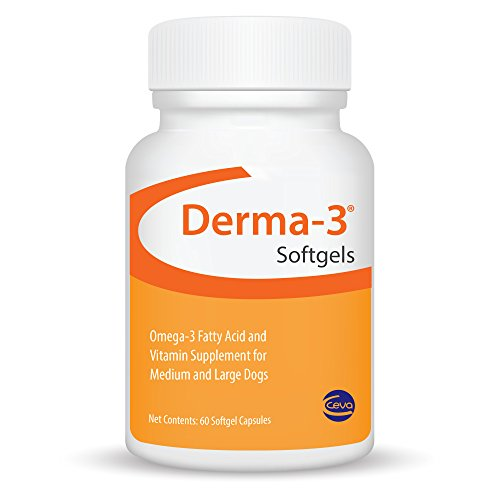 CEVA Derma-3 Softgels, Omega-3 Fatty Acid & Vitamin Supplement for Medium/Large Dogs (60Count)