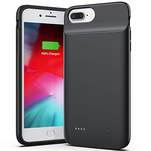 Swaller Battery Case for iPhone 8 Plus 7 Plus, 5000mAh Ultra-Slim Charger Case with Full Body Protection, Extend 120% Battery Life, Portable Charging Case Compatible with iPhone 8 Plus 7 Plus(Black)