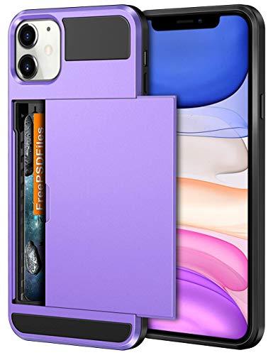 Vofolen Case for iPhone 11 Case Wallet Credit Card Holder ID Slot Sliding Door Hidden Pocket Anti-Scratch Dual Layer Hybrid Bumper Armor Protective Hard Shell Back Cover for iPhone 11 6.1 Light Purple