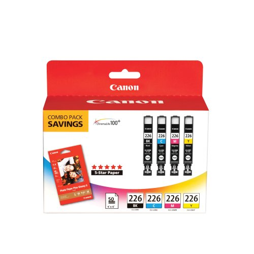 Canon CLI226 Color Pack with Photo Paper 50 Sheets Compatible to iP4820, MG5220, MG5120, MG6120, MG8120, MX882, iX6520, iP4920, MG5320, MG6220, MG8220, MX892