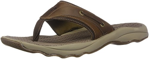 Sperry Mens Outer Banks Thong Sandals, Brown, 10