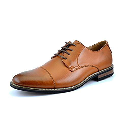 Bruno HOMME MODA ITALY PRINCE Men's Classic Modern Oxford Wingtip Lace Dress Shoes,PRINCE-6-BROWN,8.5 D(M) US