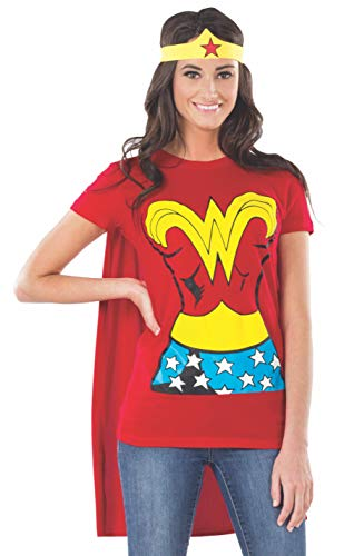 DC Comics Wonder Woman T-Shirt With Cape And Headband, Red, Medium Costume