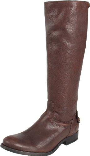 FRYE Women's Melissa Button Back Zip Knee-High Boot, Dark Brown Antique Soft Full Grain, 7.5 M US