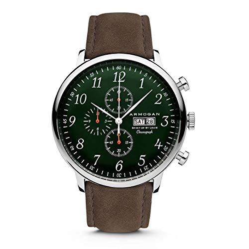 Armogan Spirit of St. Louis - Emeral Green - Men's Chronograph Watch Suede Leather Strap