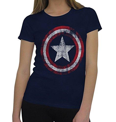 Captain America Women's Distressed Symbol T-Shirt- CLAS Blue