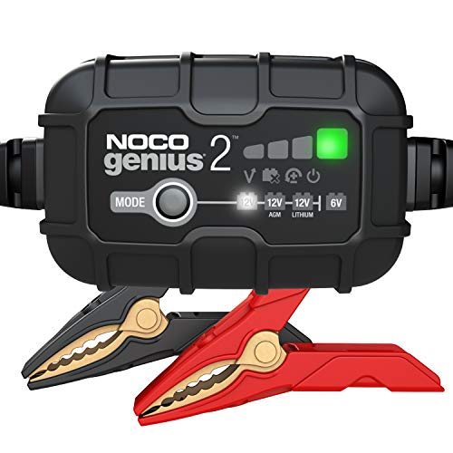 NOCO GENIUS2, 2-Amp Fully-Automatic Smart Charger, 6V and 12V Battery Charger, Battery Maintainer, Trickle Charger, and Battery Desulfator with Temperature Compensation
