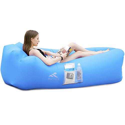 FRETREE Inflatable Lounger Couch Air Sofa Hammock - Portable Anti-Air Leaking & Waterproof Pouch Couch and Beach Chair Camping Accessories for Parties, Travel, Camping, Picnics, Pool, Large, Blue
