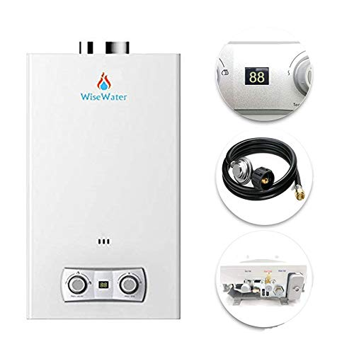 WiseWater Propane Tankless Water Heater 16L, Portable Gas Hot Water Heater with Overheating Protection, 4.2 GPM High Capacity Tankless Water Heater, White