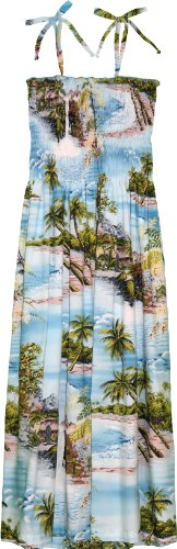RJC Womens Paradise Island Surf Elastic Tube Top Sundress in Blue - M