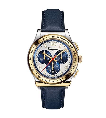 Salvatore Ferragamo Men's Ferragamo 1898 Stainless Steel Quartz Watch with Leather Calfskin Strap, Blue, 20 (Model: SFDK00218)