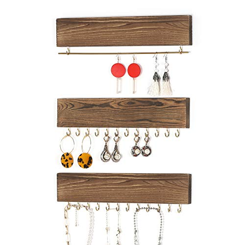 NEX Jewelry Organizer Wall Mounted - Rustic Wood Necklace Organizer, Set of 3 Hanging Jewelry Organizer for Rings, Earring Bar, Necklace Holder, Bracelet Hanger