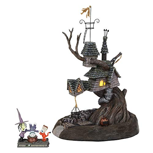 Department56 Nightmare Before Christmas Village Lock Shock and Barrel Treehouse Lit Building and Figurine, 10.7', Multicolor