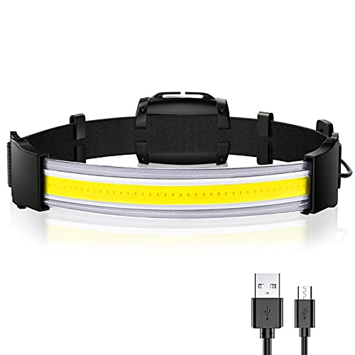 LED Headlamp, 220° Wide Angle Headlight, USB Rechargeable LED Head Lamp, 3Modes Emergency Flashlight, Head Light for Camping Fishing and Outdoor