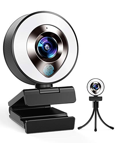 2021 CASECUBE FHD 1080P Webcam with Microphone and Ring Light, 3-Level Adjustable Brightness, Plug and Play Computer Camera, Web Camera for Laptop, MacBook, PC, Streaming Webcam for Zoom, Skype