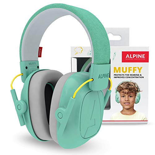 Alpine Muffy Earmuffs for Kids 3-16 Adjustable Noise Reduction Headphones - Mint