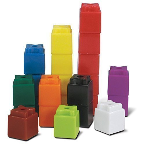 hand2mind 3/4-Inch UniLink Linking Math Cubes for Ages 4-10, Math Manipulative for Early Math Skills, Education Supplies for Counting, Addition, and Subtracting, Homeschool Supplies (Set of 100)