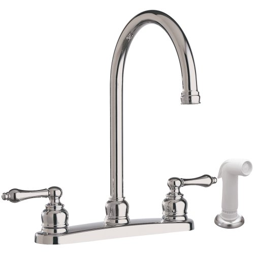 Aqualife High-Arc Swivel Spout with Two Handles Kitchen Faucet with Side Spray - Chrome Finish