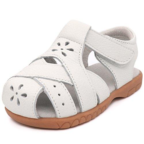 Femizee Girls Leather Summer Flower Sandals,Whtie 5 Petals,1536 CN26