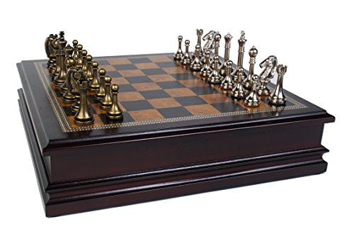 Classic Game Collection Metal Chess Set with Deluxe Wood Board and Storage - 2.5' King