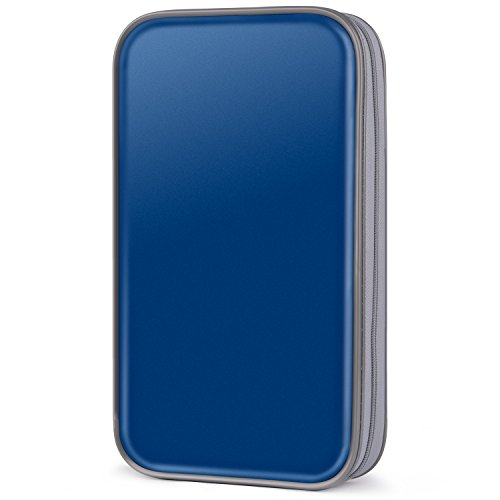 CD Case, COOFIT 80 Capacity DVD Storage DVD Case VCD Wallets Storage Organizer Flexible Plastic Protective DVD Storage Blue
