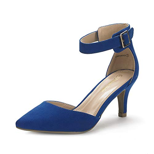 DREAM PAIRS Women's Lowpointed Royal Blue Low Heel Dress Pump Shoes - 10 M US
