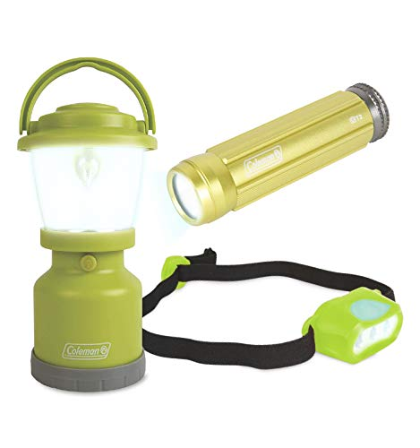 Coleman Kids Adventure Light Set for Kids – Green, Set of 3 – Includes LED Lantern, Headlamp, Flashlight – Battery Powered, an Ideal Gift – Great for Camping Trips and Backyard Sleepovers