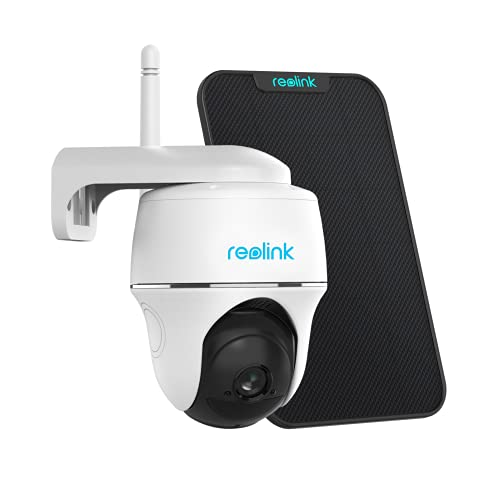 Reolink Argus PT w/ Solar Panel - Wireless Pan Tilt Solar Powered WiFi Security Camera System w/ Rechargeable Battery Outdoor Home Surveillance, 2-Way Audio, Support Alexa/ Google Assistant/ Cloud