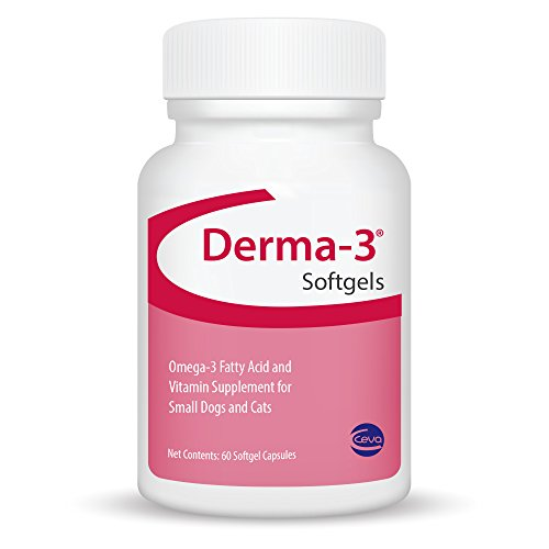 Ceva Derma-3 Softgels, Omega-3 Fatty Acid & Vitamin Supplement for Small Dogs & Cats (60 Count)