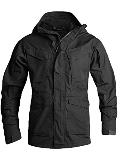 Flygo Men's M-65 Classic Field Jacket Tactical Lightweight Hooded Military Coat (X-Large, Black)