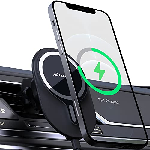 Nillkin Magnetic Wireless Car Charger, Mag-Safe Car Mount Charger with Secure Air Vent Clamp Compatible for iPhone 12 Pro Max/12 Pro/ 12/12 Mini Black
