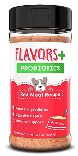 FLAVORS + Premium Probiotics - Food Topper For Dogs - Allergy & Immune Supplement, Digestive Aid, Anti-Diarrhea - Gas, Itching Skin, Bad Breath, Upset Stomach & Hot Spot Relief (Red Meat, 44 servings)