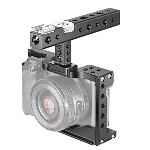 Neewer Camera Cage Video Rig Compatible with Sony Alpha A6600/ILCE 6600 Mirrorless Camera, with Top Handle Grip and Cold Shoe Mounts, Aviation Aluminum Design for Video Film Movie Making