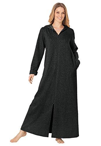 Dreams & Co. Women's Plus Size Hooded Fleece Robe - L, Heather Charcoal
