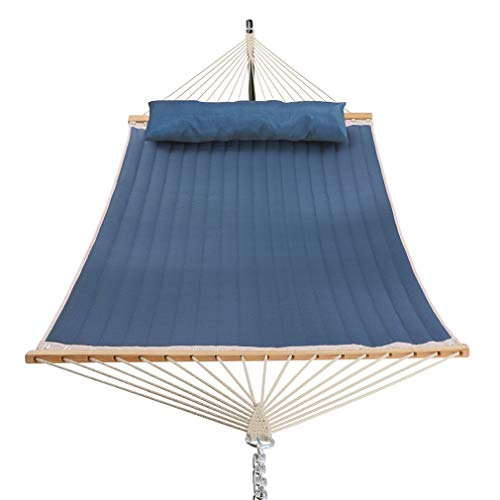 Patio Watcher 11 Feet Quilted Fabric Hammock with Pillow Double 2 Person Hammock with Bamboo Spreader Bars, Perfect for Outdoor Outside Patio Yard Beach, Dark Blue