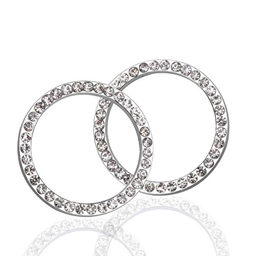 LivTee 2 PCS Crystal Rhinestone Car Engine Start Stop Decoration Ring, Bling car Accessories, Push to Start Button, Key Ignition & Knob Bling Ring