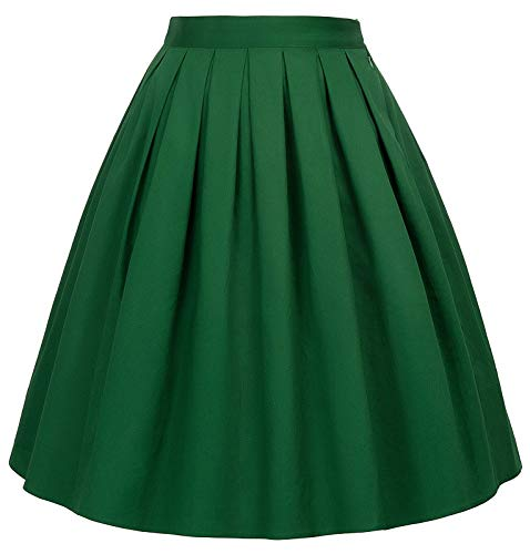 GRACE KARIN A-line Skirt Midi Skirt Solid Color Green Size L CL6294-29